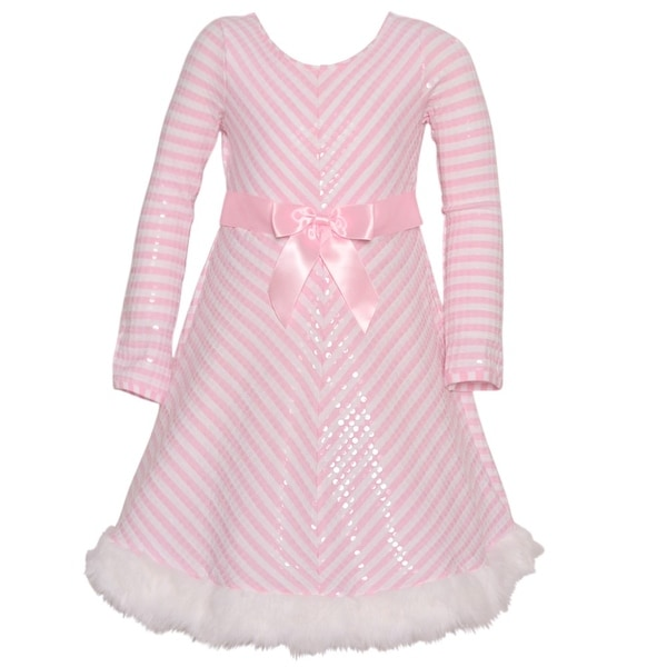 Shop Bonnie Jean Girls Pink Striped Sparkle Bow Accent