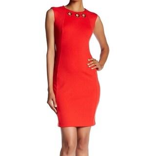 Calvin Klein NEW Red Womens Size 10 Grommet Neck Ponte Sheath Dress