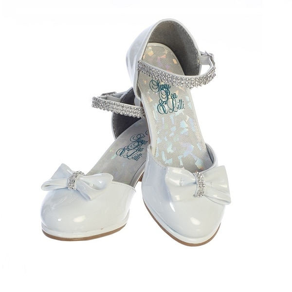 ef206a4be1fdf Girls White Patent Rhinestone Strap Bella Dress Shoes 2 Kids