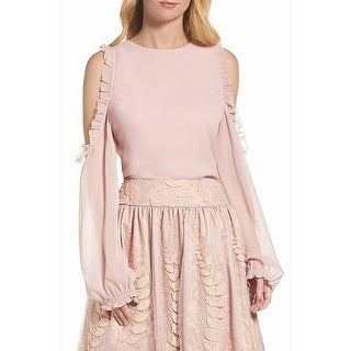 Eliza J NEW Pink Rose Women's Size 14 Ruffled Cold-Shoulder Blouse