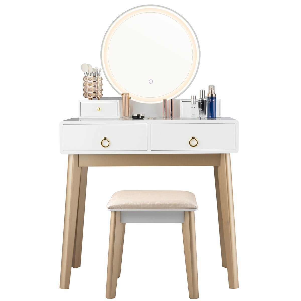 White 3 Piece Vanity Table Set With Adjustable Led Light N A On Sale Overstock 30913005