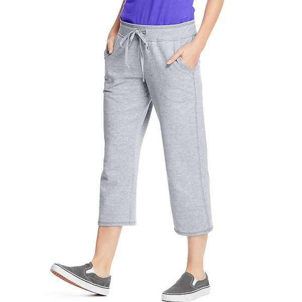 Hanes Women's French Terry Pocket Capri - Size - M - Color - Light Steel
