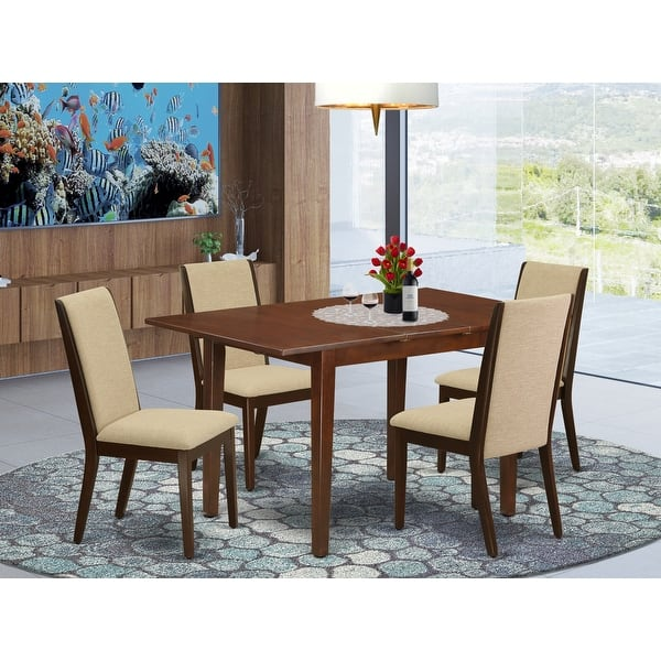 Psla5 Mah 04 5 Pc Dining Table Set 4 Upholstered Dining Chairs And Butterfly Leaf Table High Back Mahogany Finish Overstock 32085508