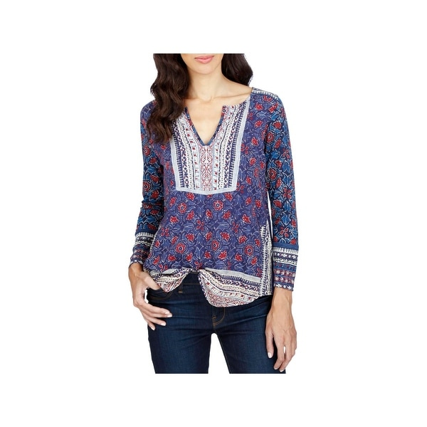 Lucky Brand Womens Peasant Top Mixed Print Boho