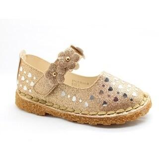 Little Girls Gold Glitter Heart Floral Accent Dress Shoes