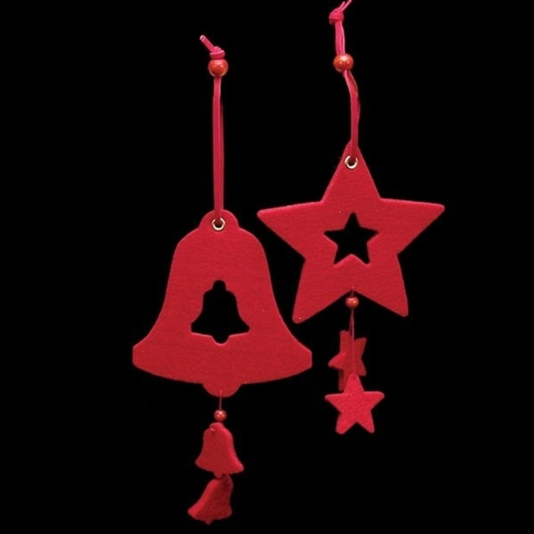 Club Pack of 18 Bright Red Color Bell and Star Felt Ornaments