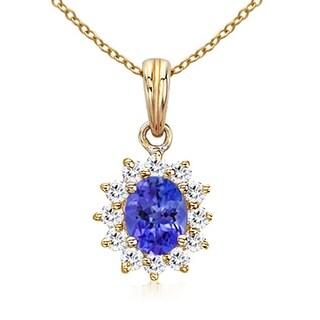 Angara Floral Diamond Halo Oval Tanzanite Pendant Necklace