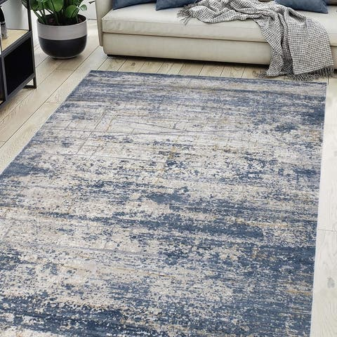 Abstract Dirilis Ashbury Blue Light Gray Rug