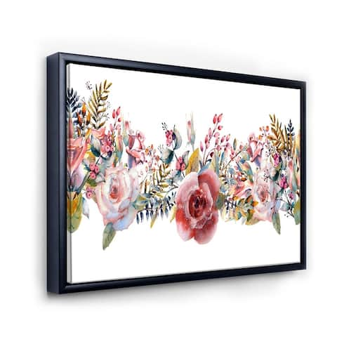 Designart 'Pink Roses and Wildflower' Farmhouse Framed Canvas Wall Art Print