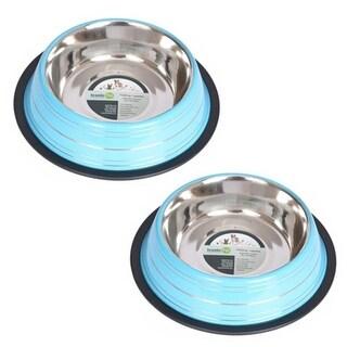 Iconic Pet 51454 16 oz. Color Splash Stripe Non-Skid Pet Bowl - Blue