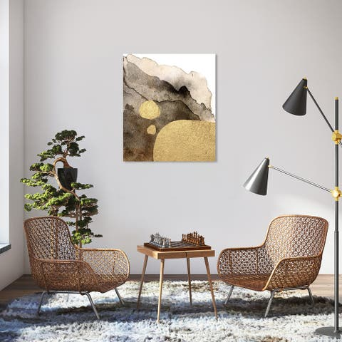 Wynwood Studio 'Tintas de Oro' Abstract Wall Art Canvas Print Watercolor - Gold, Brown
