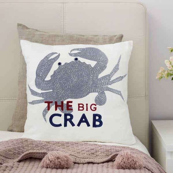 Porch & Den Stubblefield White and Grey Crab Accent Pillows (Set of 2). Opens flyout.