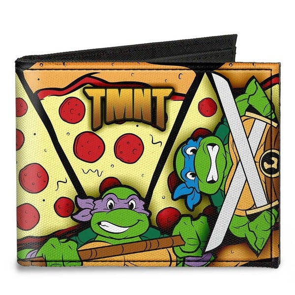 Tmnt Turtle Battle Poses Pizza Canvas Bi Fold Wallet One Size - One Size Fits most