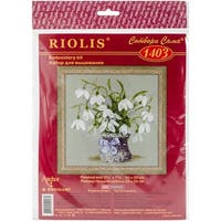 "Snowdrops Counted Cross Stitch Kit-8""X8"" 14 Count"