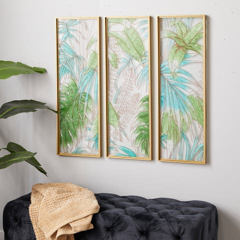 CosmoLiving by Cosmopolitan Green Glass Wall Decor (Set of 3) - 12 x 1 x 36