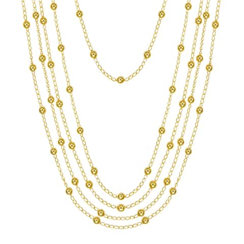 BRONZORO 18 k Gold Over bronze Long Multi Strand Necklace