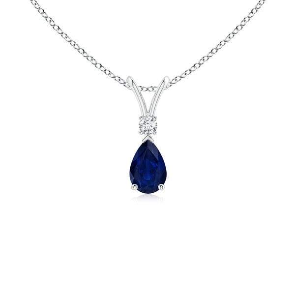 Angara Pear Blue Sapphire Teardrop Pendant Necklace with Diamond