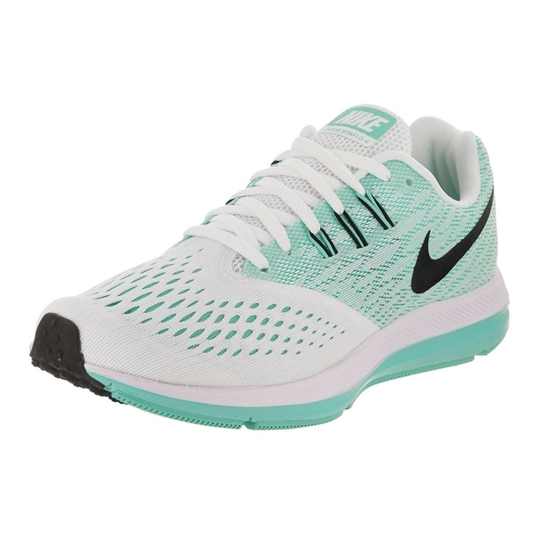 a798cb6a97dc Shop Nike Women s Zoom Winflo 4 White Black Aurora Green Running ...