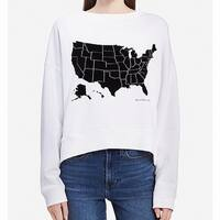Calvin Klein White Women's Large L USA Graphic Boat Neck Sweater