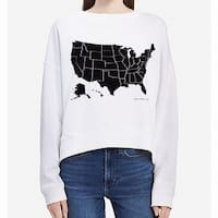 Calvin Klein White Women's Size XL USA Graphic Boat Neck Sweater