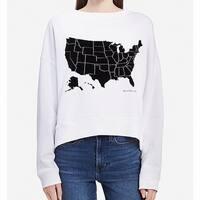 Calvin Klein Women's Medium USA Graphic Boat Neck Sweater