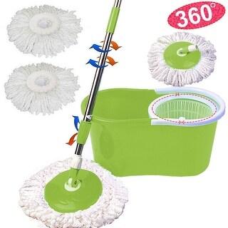 Costway Microfiber Spining Magic Spin Mop W/Bucket 2 Heads Rotating 360 degree Easy Floor Mop