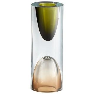 "Cyan Design 10017  Majeure 3-1/4"" Diameter Glass Vase - Olive / Brown"