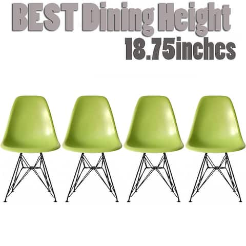 Set of 4 Modern Color Seat Height DSW Molded Armless Plastic Dining Room Chairs Black Wire Eiffel Dowel Legs