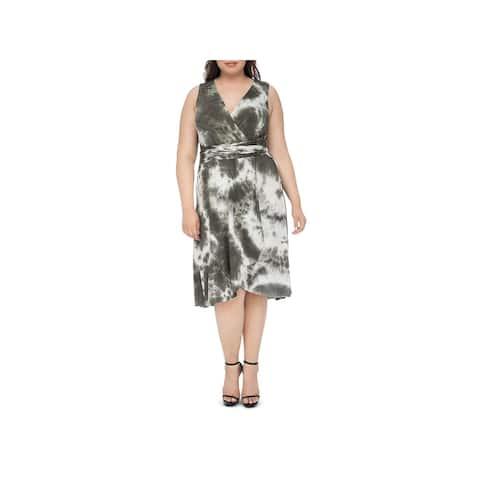 Bobeau Womens Plus Midi Dress Faux-Wrap Tie-Dye - 3X