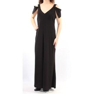 Womens Black Cap Sleeve Maxi Sheath Formal Dress Size: 10
