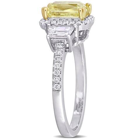 Miadora 14k 2-Tone Gold 2 4/5ct Yellow & White Certified Diamond 3-Stone Halo Engagement Ring (GIA)