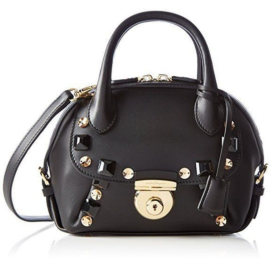 0b1ab2a79185 Shop Salvatore Ferragamo Women s Black Fiamma Embellished Mini Bag - Free  Shipping Today - Overstock - 15008877