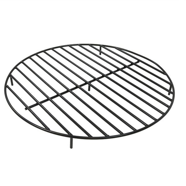 Sunnydaze Round Black Steel Outdoor Camping Fire Pit Firewood Grate - 36-Inch - 36 Inch