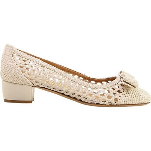Salvatore Ferragamo Women's Vara Woven Pump Bone Leather