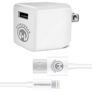 HyperGear Rapid Wall Charger 2.4A with 4ft USB Lightning Cable for iPod, iPhone & iPad - White
