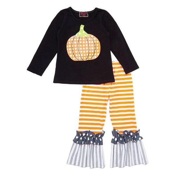 4cd8db7aa5a30 Royal Gem Girls Gray Orange Stripe Pumpkin Detail 2 Pc Pant Outfit 7/8