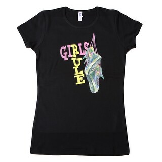 Women's Bella Girls Rule T Shirt, Black Large