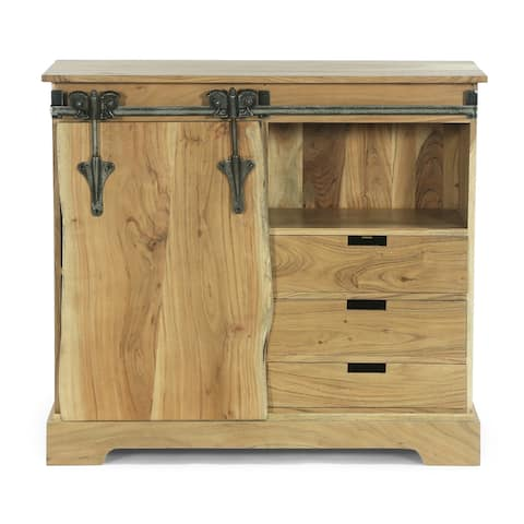 Laymon Modern Industrial Handcrafted Acacia Wood Live Edge Sideboard with Sliding Door