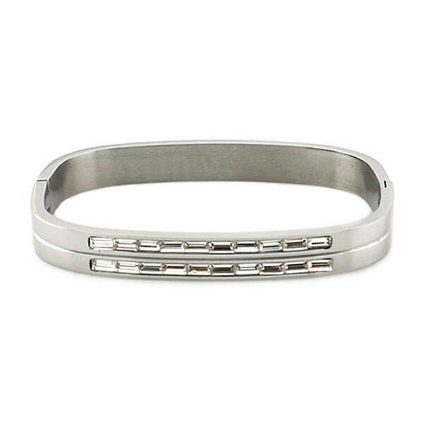 Womens Stainless Steel Bangle Bracelet with Two Rows of Baguette Shaped Cubic Zirconia (8mm Wide)