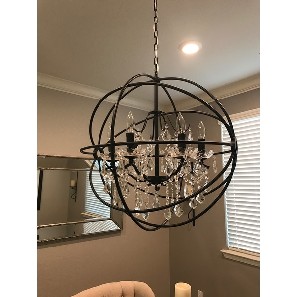 Black Wrought Iron Orb Chandelier   Free Shipping Today   Overstock.com    16562867