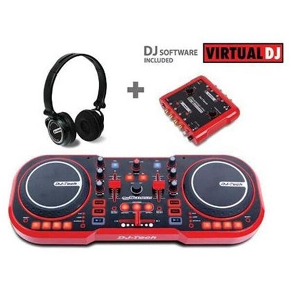 USB DJ MIDI Controller with Headphones and External Sound Interface