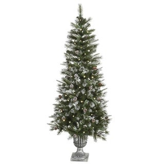 6.5' Pre-Lit Frosted Country Pine Cone Potted Artificial Christmas Tree - Clear