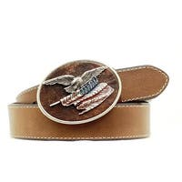 Nocona Western Belt Mens Leather Eagle Flag Buckle Brown
