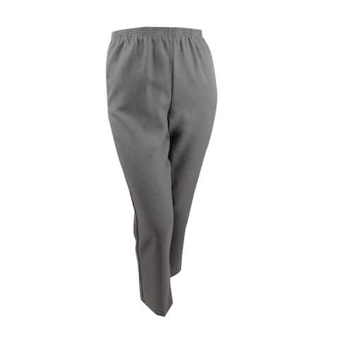 Alfred Dunner Women's Classics Pull-On Straight-Leg Pants (12, Grey) - 12