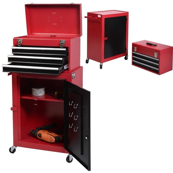 Costway 2pc Mini Tool Chest & Cabinet Storage Box Rolling Garage Toolbox Organizer - Red