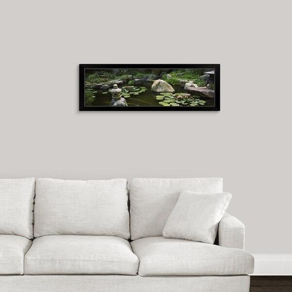 """Japanese Garden, University of California, Los Angeles, California"" Black Framed Print"