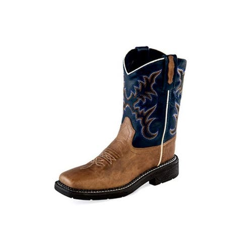 Old West Cowboy Boots Boys Square Rubber Medallion Tan Fry