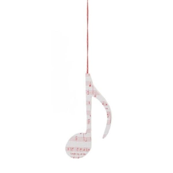 Christmas Traditions Eighth NoteQuaver Glitter Christmas Ornament - WHITE