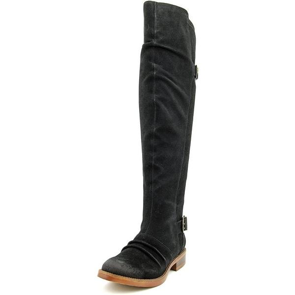 Kensie Stella Women Round Toe Suede Black Over the Knee Boot