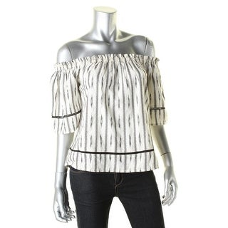 4Our Dreamers Womens Casual Top Printed Off-The-Shoulder